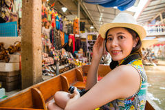Asian women traveler on travel in Thailand royalty free stock image