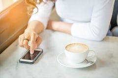 Asian women use smart phone Stock Photo