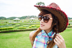 Asian women wear blue plaid shirt Royalty Free Stock Photography