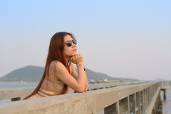 Asian women wear sunglass Royalty Free Stock Photos
