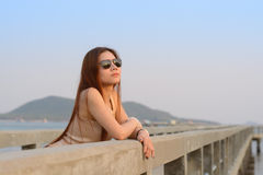 Asian women wear sunglass Royalty Free Stock Photo