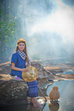 Asian women working in creek royalty free stock images