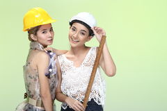 Asian Women in yellow white safety hat and tools, smile laugh lo Stock Photography