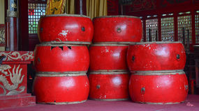 Asian wooden leather old drums. At the temple in Kunming city, China Stock Photo