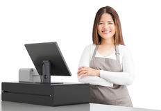 Asian worker with cashier desk. Asian worker with 3d rendering cashier desk on white background royalty free stock image