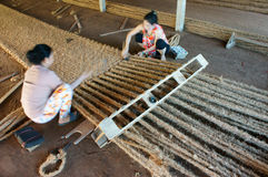 Asian worker, coir mat , Vietnamese, coconut fiber Royalty Free Stock Photography