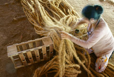 Asian worker, coir mat , Vietnamese, coconut fiber Royalty Free Stock Images