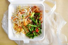Asian worker packed lunch stock image