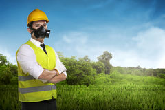 Asian worker wear safety vest and helmet Royalty Free Stock Photography