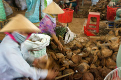 Asian worker, wood workshop, coconut product Royalty Free Stock Images