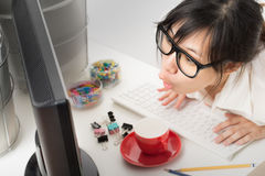 Asian working woman Royalty Free Stock Photo