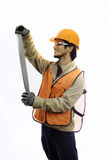 Asian workman in hardhat Stock Photos