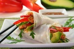 Asian Wrap. Wrap with shrimp, avocado and arugula stock photo