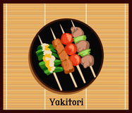 Asian Yakitoris Skewers Set Stock Images