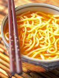 Asian yellow noodles in chili oil Royalty Free Stock Photo