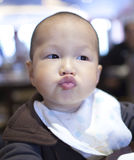 Asian young baby pout the mouth Stock Photos