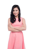 Asian young beautiful woman with long black hair in pink dress s Stock Photo