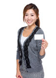 Asian young business assistant hold with company card Stock Images