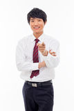 Asian young business indicated you. Royalty Free Stock Photos