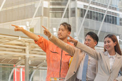 Asian Young businessmen and engineers view of construction manag Royalty Free Stock Photography