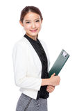 Asian young businesswoman with clipboard Royalty Free Stock Photos