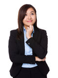 Asian Young Businesswoman think of idea Stock Images
