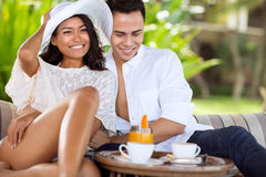 Asian young couple enjoying in summer holiday Stock Image