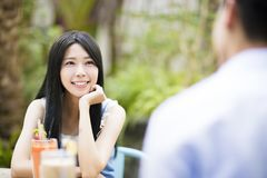 Asian young couple in restaurant Royalty Free Stock Photo