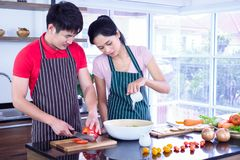 Asian young couple`s in apron, make cooking together. Woman mix salad dressing with vegetable in bowl. stock photos