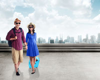 Asian young couple travel together Royalty Free Stock Images