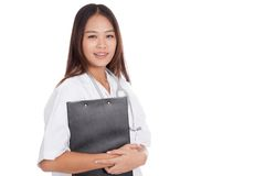 Asian young female doctor with a clipboard Royalty Free Stock Image