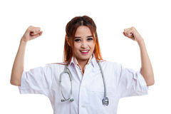 Asian young female doctor happy with success. Stock Photography