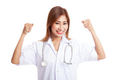 Asian young female doctor happy with success Stock Photography