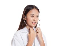 Asian young female doctor smile  use stethoscope Stock Image