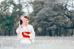 Asian young girl kimono. Asian young girl wearing a kimono in natural green grass Royalty Free Stock Photo