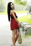 Asian young girl outdoor Royalty Free Stock Images