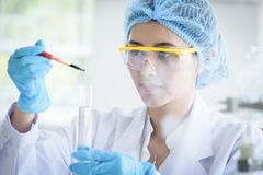 Asian young girl student scientist researching  and learning in a laboratory. Background beaker biology biotechnology black blue chemical chemist chemistry stock photo