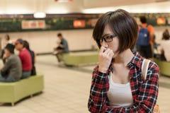 Asian young girl wait Stock Photos