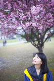 Asian young graduate working in the campus Royalty Free Stock Images