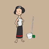 Asian young house keeping Stock Photo