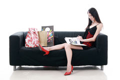 Asian young lady reading Royalty Free Stock Image