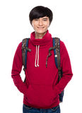 Asian young man with backpack Royalty Free Stock Image