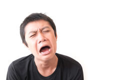 Asian young man cry and sad face character.  Stock Photography
