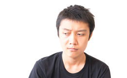 Asian young man depression on face charactor Stock Photography