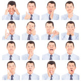 Asian young man face expressions composite Royalty Free Stock Photography