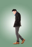Asian young man feel cold Stock Photo