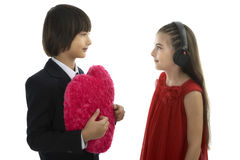Asian young Man handing over love gift to young woman Stock Image