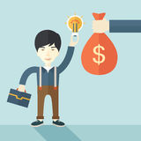 Asian young man with his bag and bulb Stock Image