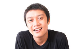 Asian young man smilling, Happy feeling character with white bac. Asian young man smiling, Happy feeling character with white background Stock Photography