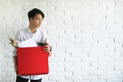 Asian young man student with books. In hands Royalty Free Stock Photography